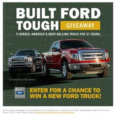WATCH AND ENTER FOR YOUR CHANCE TO WIN DURING THE Built Ford Tough Giveaway! Enter to win  here>>> http://www.fordeventgiveaway.com/?ref=3131748