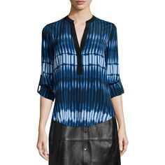 Vince Tie-Dye Striped Popover Blouse ($310) ❤ liked on Polyvore featuring tops, blouses, blue top, silk blouses, loose fitting tops, v neck blouse and vince tops