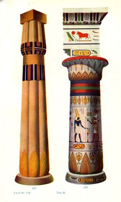 Re-creation of how Egyptian columns would have looked in ancient time, painted and highly decorated - also featuring a great variation in the capitals and column shapes