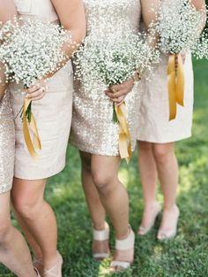 #babys-breath, #metallic  Photography: Laura Gordon - www.lauragordonphotography.com  Read More: http://www.stylemepretty.com/2014/12/16/rustic-chic-wedding-at-riverside-on-the-potomac/