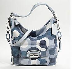 Coach Kristin Graphic Op Art Hobo 14860 Silver Blue Multicolor