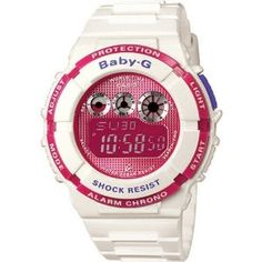 Casio Women's BGD121-7 White Resin Quartz Watch with Pink Dial