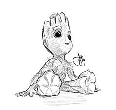 Baby Groot Coloring Page . 24 Baby Groot Coloring Page . Guardians Of the Galaxy Baby Groot Coloring Pages Free Printable Coloring Pages Superhero Sketches, Cartoon Sketches, Art Sketches, Marvel Drawings, Doodle Drawings, Easy Drawings, Comic Books Art, Comic Art, Baby Groot Drawing