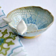 Mama and Baby Bird ceramic  bowl