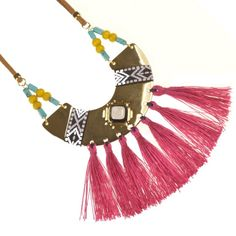 Fashion jewellery. RueB Festival Fashion: Long Colourful Statement Necklace with Pink Tassels and Yellow Beads