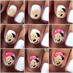 Nails and manicure step by step. New Nail Art, Cute Nail Art, Nail Art Diy, Diy Nails, Cute Nails, Pretty Nails, Manicure, Ongles Mickey Mouse, Minnie Mouse Nail Art