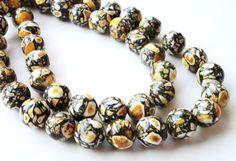 Yellow Mosaic Beads Yellow Round Mosaic Beads Yellow by BijiBijoux