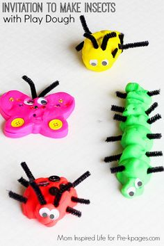 Making Insects with Play Dough for learning and fun in preschool and kindergarten! Practice fine motor skills and science with this fun activity!
