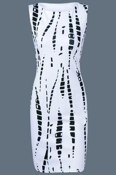 $14.00 Sleeveless Printed Midi Sheath Dress - White
