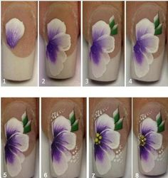 Flaunt your manicured floral nails during the spring season. Go through our incredible collection of flower nail art ideas to know what will look best on you. Uñas One Stroke, One Stroke Nails, Nail Art Diy, Diy Nails, Cute Nails, Trendy Nails, Nail Art Fleur, Nail Art Designs, Water Color Nails