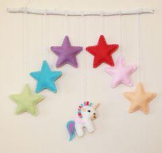 Handmade cute felt unicorn and stars wall hanging by TinyHappyBee Beautiful Unicorn, Little Unicorn, Star Wall, Handmade Christmas, Wool Felt, Different Colors, Presents, Nursery, Shapes