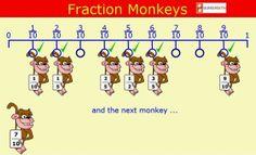 """""""Fraction monkeys"""" es un juego en el que hay que colgar los monos en el gancho adecuado de la unidad: aquel que exprese una fracción equivalente a la del mono. Empezando por fracciones más sencillas y siguiendo por otras no tanto, el concepto de fracciones equivalentes y el cálculo mental ágil para hallarlas se afianzan."""