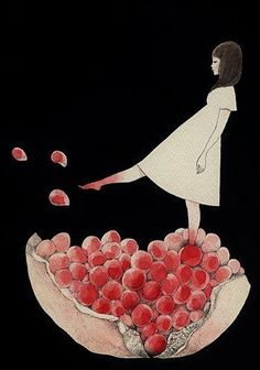 "Träumend - erinnert an Persephone und Hades, wegen des Granatapfels. Midori Yamada: (""Pomegranate stained feet"")"