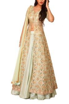 Jade Moroccan Kalidar Jacket with Lehenga Indian Gowns Dresses, Indian Fashion Dresses, Indian Designer Outfits, Pakistani Dresses, Designer Dresses, Choli Designs, Lehenga Designs, Indian Wedding Outfits, Indian Outfits