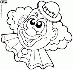 coloring pages draw a clown clown face FarsangCarnaval