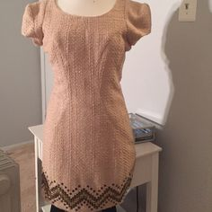 holiday dress peach dress with metallic embellishments.  Price negotiable Forever 21 Dresses Mini