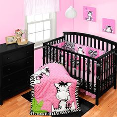 This is so fricking cute! I think when the girls get bigger i'm going to do their room in zebra!!    Baby Boom I Luv Zebra Crib Bedding 3pc Set and Bumper - Value Bundle
