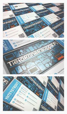 Business card with blue and orange icons with coated matte and UV finish by #DmgON www.dmgon.fi #businesscards #blue #orange #UV-finish #illustration #Tietokonekauppafi #identitity #käyntikortti #icons #DmgON  Ikoneilla kuvitettu käyntikortti, brändinmukaisine sinisin kuvakkein ja oranssein tehostein, viimeistelty UV-lakalla.
