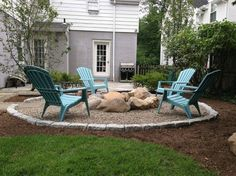 Since we have natural rock, pebbles or river rocks would make a nice surround but looking for a barrier to the lawn