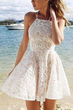 Cute A-line White Halter Short Straps Lace Homecoming/Prom Dresses OK296