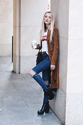 Laura Simon - Review Brown Wildleather Coat, Levi's® White Red Levis Shirt, Urban Outfitters Blue Ripped Jeans, Buffalo Black Plateau Boots - Wildleather x Levis