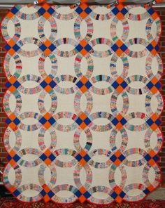 Amish Wedding Ring Quilt | ... 30's Vintage Double Wedding Ring Antique Quilt Great Quilting | eBay