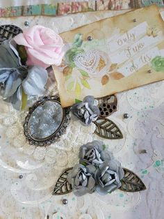 """Mixed Media Vintage Greeting Card """"Only Two of Us"""" with paper roses, fabric flowers, metal embellishment, charm, cabochon and pearls Vintage Greeting Cards, Greeting Cards Handmade, Paper Roses, Beautiful Gifts, Spring Collection, Mixed Media Art, Fabric Flowers, Embellishments, Charmed"""