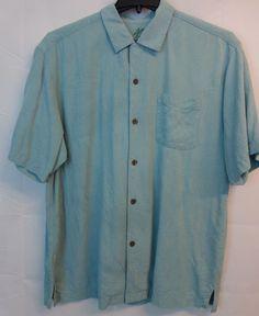 Tommy Bahama Light Blue Green Hawaiian Button Up Shirt Men L Camp Silk Embossed #TommyBahama #Hawaiian