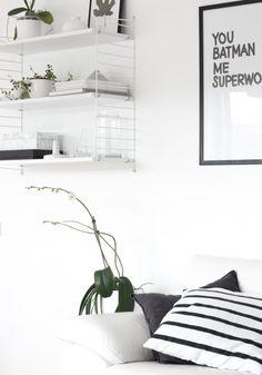 White nordic living room details, green plants, String shelf