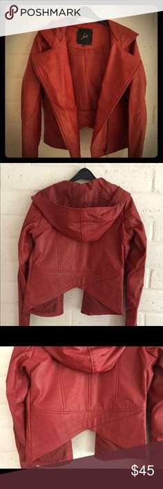 Hooded red faux leather jacket Super cool red faux leather jacket with hood. Size small. New, never worn, without tags. Brand is Jack, size small, and it fits me. For size reference, I wear a 38 in Iro leather jackets, and a 2 in Allsaints leather jackets. Jackets & Coats