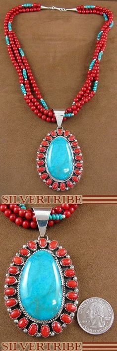 Navajo Indian Jewelry Turquoise Coral Sterling Silver Pendant And Necklace Set #silvertribe #silver #boho #Native American
