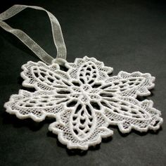 Embroidered Lace Snowflake Ornament Floral Style