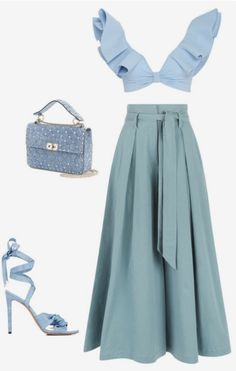 A fashion look from June 2017 by lucillefourny featuring Temperley London, Johanna Ortiz, Altuzarra ve Valentino Mode Outfits, Skirt Outfits, Stylish Outfits, Cute Casual Outfits, Mode Kpop, Look Street Style, Elegantes Outfit, Looks Chic, Aesthetic Clothes
