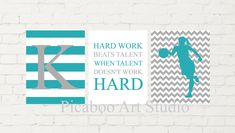 Hard work beats talent, basketball wall art, female basketball, girl basketball player, monogram art, chevron, teal gray room, 3 prints set Basketball Room, Girl Bedroom Walls, Grey Room, Motivational Phrases, Childrens Room Decor, Room Themes, Hard Work, Printable Art, Beats