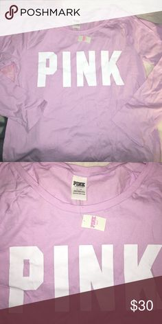 VS Pink Long Sleeve Lavender Shirt sz L NWT PINK Victoria's Secret Tops Tees - Long Sleeve