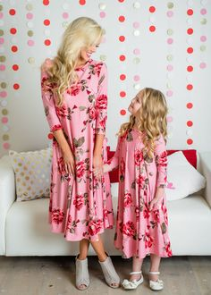 Mommy  Floral Pocket Midi Dusty Rose, Midi Dress, Dress,  Ryleigh Rue Clothing, Kids Clothing, Fashion, Online Shopping, Online Boutique, Style, Fashion Blogger, Striped top