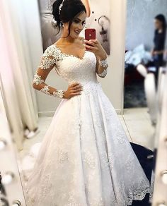 Popular Ball Gown Wedding Dress With Long Sleeves , Fashion Bridal Dre – Superbnoiva Western Wedding Dresses, Long Wedding Dresses, Princess Wedding Dresses, Bridal Dresses, Gown Wedding, Wedding Fabric, Prom Dresses, Formal Dresses, Dusty Pink Bridesmaid Dresses