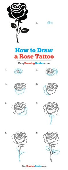 Easy Drawings, Tattoo Drawings, Step By Step Drawing, Learn To Draw, Tribal Rose, Drawing Tutorials For Kids, Draw Flowers, Cartoon Drawing Tutorial, Popular Cartoons