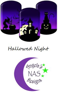 Halloween Nail Wraps. Hallowed Night. Jamberry Nail Art Studio. Angela's NAS Designs.