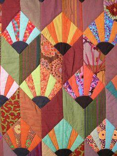 Detail, Kaffe Fassett quilt exhibited in Houston 2010.  Photo by Allie Aller, Allie's in Stitches