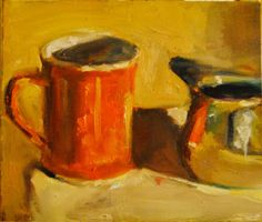 "Joyce's Mug and Creamer by Ian Costello Oil ~ 6"" x 7"""