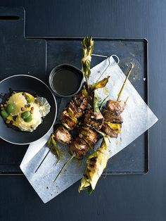 lamb skewers with lemon and olive salsa