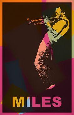 A colorful poster in pop art form of famed musician Miles Davis. Pop Art Artists, Jazz Artists, Artist Art, Jazz Poster, Blue Poster, Miles Davis, Music Pics, Jazz Music, Renaissance Artworks