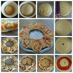 Here is a tasty and beautiful pizza tutorial .It tastes like pizza, but it looks royal. Basically, the difference comes from the way you structure the dough. Get rid of the boring same-shaped pizza and try this one. Snacks Für Party, Appetizers For Party, Pizza Recipes, Cooking Recipes, Recipes Dinner, Salad Recipes, Comida Diy, Tasty, Yummy Food