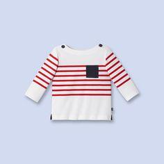 Matrosenshirt aus Jersey WEISS/ROT Junge - Babybekleidung - Jacadi Paris