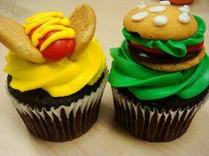Hamburger and hot dog cupcakes