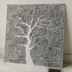 Hi everyone, I have an artwork for sale, please do inform me if you know anyone interested 😚  Artwork detail:  Name : The Dying Tree  Medium : Marker/Sharpie on canvas  Size : 2ft x 2ft  Price : RM400  #artline #artmalaysia #doodle #doodlemalaysia #artforsale #doodleforsale #artmarket #malaysiaartmarket #canvas #marker #blackandwhite #architecture #architecturesketch #building #artmarketmalaysia