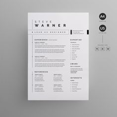 Minimalist resume templates to make your CV professional. All of these visual resume templates come with a matching cover letter and reference page. Cv Resume Sample, Modern Resume Template, Resume Template Free, Resume Cv, Resume 2017, Portfolio Web, Portfolio Resume, Portfolio Design, Marketing Professional