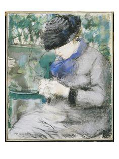 Girl Sitting in the Garden or Knitting               Edouard Manet