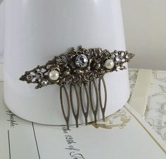 Elegant Classique Bridal Hair Comb no. 1 handmade bridal accessory aged brass vintage filigree crystals pearls victorian hair comb. $35.00, via Etsy.